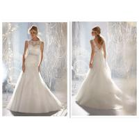 Classic A Line Ball Gown Wedding Dress , Crystal Wedding Dresses Exquisite Gauze Tail