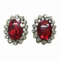 Wholesale Fashionable Stud Earrings, Red Clear Rhinestone Decoration from china suppliers