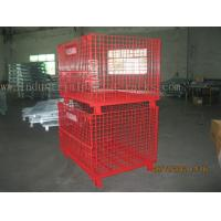 China Epoxy Powder Coating Painting Red Wire Mesh Container Heavy Weight 2000lbs Loaded on sale