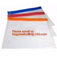 Wholesale Cheap Waterproof PE zipper lock file wallet bag with logo printing, cheap A4, A5, A6, B5 transparent plastic pe zip lock from china suppliers