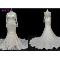 China long sleeves customize made lace application bridal gown wedding dresses on sale