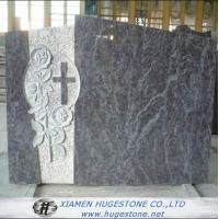 White Cross with  Flower Carving around Granite Tombstone for sale