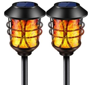 China Solar Lights Metal Flickering Flame Solar Torches Lights Waterproof Outdoor Landscape on sale