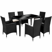 Wholesale KD Black Indoor Wicker Outdoor Rattan Dining Set In All Weather from china suppliers