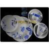 Blue Flower Design 24 Piece Coupe Dinnerware SetsWith Coffee Mug Safe For Refrigerator for sale