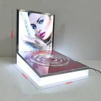 Quality LED Luminous Acrylic Counter Display Stands Striped Surface For Beauty Products for sale
