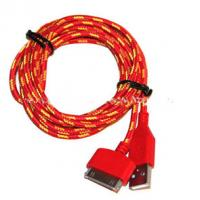 Wholesale Red Color 30 Pin To USB Sync And Charge Cable Covered with Nylon , Two Sided from china suppliers