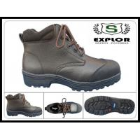 China Men's brown safety boots with steel toe work boots for men leather boots on sale