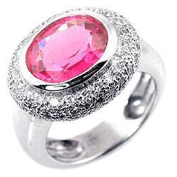 Buy cheap Fashionable Hot pink 12# Women's Cushion Cut Diamond semi precious atone ring from wholesalers
