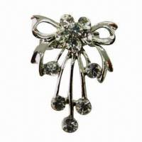 Wholesale Metal Brooch with Shiny Rhinestones from china suppliers