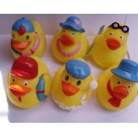 China Mini Yellow Bathtub Weighted Squeezing Rubber Ducks Surfing / Swimming Design on sale