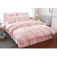 China Pink / Blue / White Ruched Home Comforter Bedding Sets 4 Pcs 100% Cotton on sale