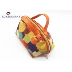 China Fashion Lady Handbag Fabric Makeup Bag Orange Leather Handle Size 21X14X16cm for sale