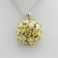 Wholesale Fashion Sterling Silver Yellow Citrine Cubic Zircon Pendant Charm Necklace (FP052) from china suppliers