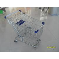 Buy cheap 100L Low Tray Supermarket Shopping Trolley Zinc Plated  With Blue Baby Seat from wholesalers
