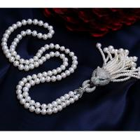 Wholesale Shell Pearl Sweater Necklace with Tassels Pave Cubic Zirconia Charm Pendant (SN702142SIVER) from china suppliers