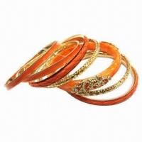Wholesale Bangle set, made of metal, available in epoxy dome and plastic from china suppliers