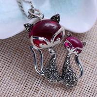 Wholesale Women Sterling Silver Marcasite Synthetic Ruby Double Fox Retro Necklace(XH057430) from china suppliers