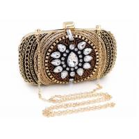 Vintage Retro Crystal Evening Clutch Bags Fashion Bead With Black Velvet