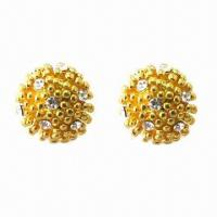 Wholesale Fashionable Stud Earrings, Pistil-shaped with Rhinestone Decorated, Made of Alloy from china suppliers
