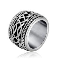 Wholesale Vintage Old Titanium Stainless Steel with Sterling Silver Plated Band Ring  () from china suppliers