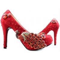 Wholesale Hotest Wedding spring new heels/slipper high female marry bridal gown red diamond shoes from china suppliers