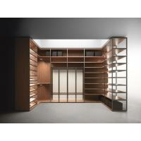 Wholesale Wood cabinets for cloth and shoe racks used by Wardrobe closet and shelves in Walnut wood with metal tubes from china suppliers