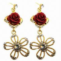 Wholesale Fashionable Rhinestone Drop Earrings with Red Resin Flower Decorated from china suppliers