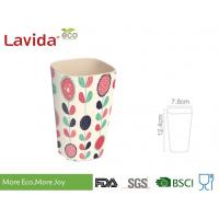 Quality Firm Sturdy Eco Bamboo Fiber Cup Hand Drawn Flower Printed For Fast Food Restaurant for sale