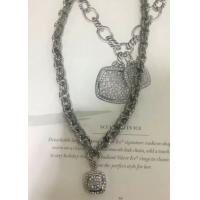 Wholesale (N-96) Fashion Women Necklace Silver Plated Oval Link Chain with Cubic Zircon Pendant from china suppliers
