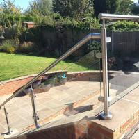 Wholesale 2'' Pipe Handrail Balcony / Terrace Stainless Steel Glass Railing Designs from china suppliers