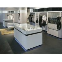 Quality White golssy wood wall cabinet for cloth store display with stainless steel for sale