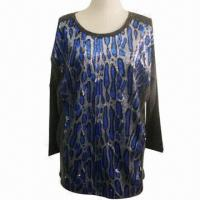 Wholesale Circular knitted T-shirt, loose style with decorated, special design and cut from china suppliers