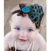 Wholesale Baby toddler peacock headband Newborn Hairband Natural Peacock Leather Headband from china suppliers
