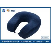 Wholesale U Shaped Blue Crystal Velvet Slow Rebound Memory Foam Travel Neck Pillow from china suppliers