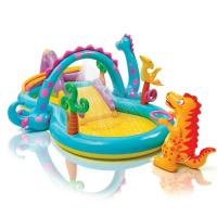 Wholesale Dinosaur Kids Play Center Inflatable Paddling Pool With Soft Slide 0.25mm Thickness from china suppliers