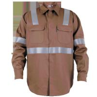 China Coffee flame resistant work clothes outdoor mens jacket with hidden snaps on sale