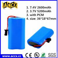 Wholesale ICR18650 2s1p 7.4v 2200mah li ion battery pack for flash lights from china suppliers