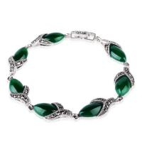 Wholesale 925 Silver Thailand Vintage  Green Agate Women Bracelet (LB001) from china suppliers