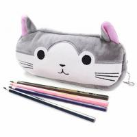 China New creative korean stationery import office and school supplies girls gift cute plush cat cartoon zipper pencil funny for sale