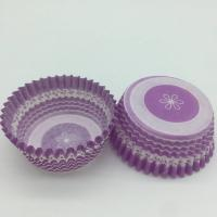 Wholesale Purple Round Shape Muffin Paper Cups , Striped Cupcake Liners FDA SGS Standard from china suppliers