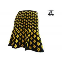 Wholesale Casual Ladies Knit Skirts Banded Waist , Warm Jacquard Skirt with Yellow Flower from china suppliers