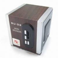 Wholesale Mini Wood T-Flash Card Mobile Cube Speaker with 150 to 18,000Hz Frequency Response and FM Radio from china suppliers