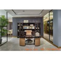 Wholesale Luxury interior design furniture reading rooms writing desk and Bookcase with glass door in black glossy wood cabinets from china suppliers