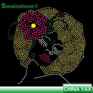 China custom rhinestone afro girl transfer for T-shirt;afro girl transfer rhinestone;afro girl rhinestone transfer on sale