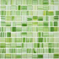 Wholesale Green hand painted crystal glass mosaics swimming pool wall tiles from china suppliers