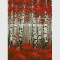 Wholesale Hand Painted Modern Art Oil Painting Brich Forest , Abstract Landscape Painting from china suppliers