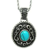 Wholesale 925 Silver Plated Titanium Steel Rope Chain with Vintage Old Turquoise Pendant(SP046) from china suppliers
