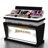 Wholesale Wooden Acrylic Makeup Display Stand Countertop Cosmetic OrganizerWith LED from china suppliers