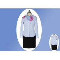 Wholesale Modern Office Slim Long Sleeve Work Uniform Lady Blue White Striped Shirt from china suppliers